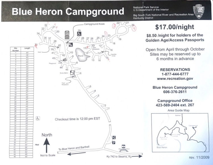 Blue Heron Campground Map